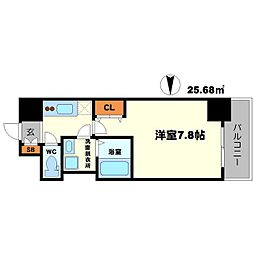 BPRレジデンス江坂 9階1Kの間取り