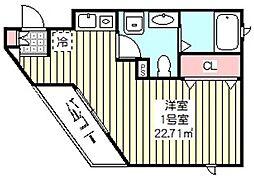 ベックアパートメントワラビ 1階ワンルームの間取り