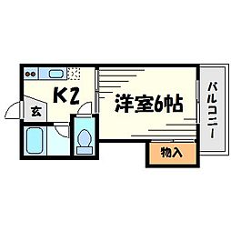 兵庫県尼崎市武庫川町3丁目の賃貸アパートの間取り