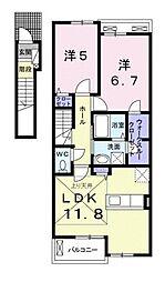カーサ・カメリア松山インター[C202 号室号室]の間取り