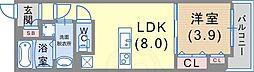 エカルラート青谷 1階1LDKの間取り