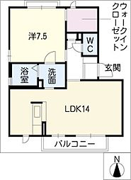 ハピネス平井 C棟 1階1LDKの間取り
