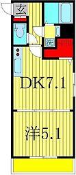 アリエッタコート 2階1DKの間取り