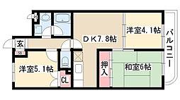 愛知県名古屋市天白区鴻の巣2の賃貸マンションの間取り