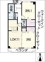愛知県小牧市郷中2丁目の賃貸マンションの間取り