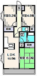 サニープレスキャッスルA[5階]の間取り