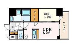 名古屋市営桜通線 高岳駅 徒歩1分の賃貸マンション 6階1LDKの間取り