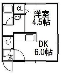 北海道札幌市豊平区平岸四条12の賃貸アパートの間取り