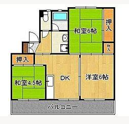 福岡県中間市大辻町の賃貸マンションの間取り