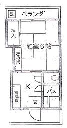 東京都北区中十条1丁目の賃貸アパートの間取り