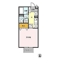 メルベーユ1ナベシマ[1階]の間取り