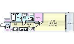 Osaka Metro四つ橋線 四ツ橋駅 徒歩7分の賃貸マンション 8階1Kの間取り
