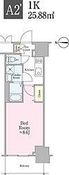 東京メトロ東西線 飯田橋駅 徒歩4分の賃貸マンション 4階1Kの間取り