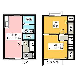 [テラスハウス] 茨城県水戸市姫子2丁目 の賃貸【/】の間取り