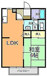 サニーコート・五反田 2階1LDKの間取り