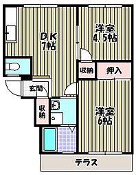 クープル旭I[1階]の間取り