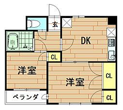 神奈川県川崎市幸区矢上の賃貸マンションの間取り