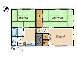 東京都大田区東雪谷5丁目の賃貸アパートの間取り