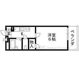 JR東海道・山陽本線 大津駅 徒歩10分の賃貸アパート 1階1Kの間取り