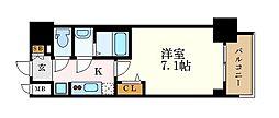 プレサンス桜通ベルノ 13階1Kの間取り