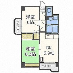 北海道札幌市豊平区平岸八条13丁目の賃貸マンションの間取り