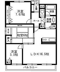 サーパス牛田天水苑[7階]の間取り