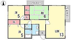 ファイブ西岡本[203号室]の間取り