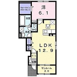 JR阪和線 紀伊駅 4.4kmの賃貸アパート 1階1LDKの間取り