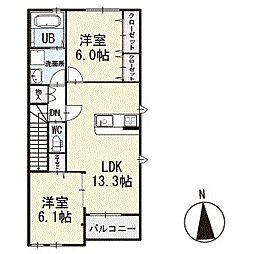 ドリームパレス 2階[202号室]の間取り