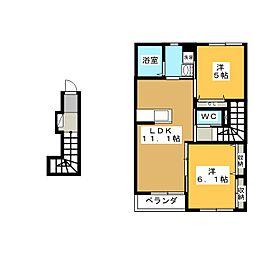 岐阜県各務原市那加桜町3丁目の賃貸アパートの間取り