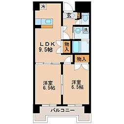 リリーマンション1号館[6階]の間取り