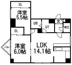 北海道札幌市手稲区手稲本町二条2丁目の賃貸マンションの間取り