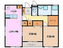 三重県桑名市大字福島の賃貸アパートの間取り