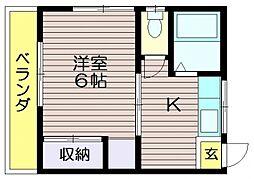 第二北野荘B棟[201号室]の間取り