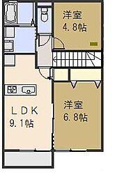 ビアンキ花崎 A[201号室号室]の間取り