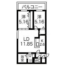 癒禅32 5階2LDKの間取り
