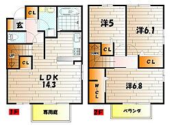 ラシーヌyugawa A棟[2階]の間取り