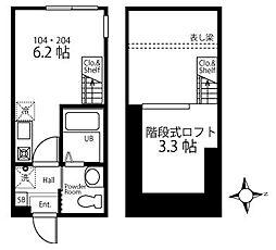 ハーミットクラブハウス日吉IIIB棟(仮)[2階]の間取り
