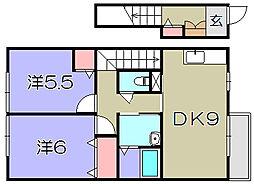 ウィニング 2階2DKの間取り