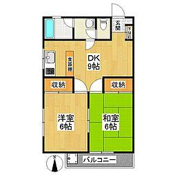 東京都狛江市岩戸南3丁目の賃貸マンションの間取り
