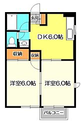 東京都国分寺市日吉町1丁目の賃貸アパートの間取り