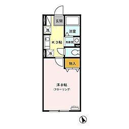 ボーデングハウス手形 B[2階]の間取り