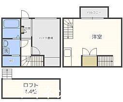 福岡市地下鉄七隈線 次郎丸駅 徒歩7分の賃貸アパート 2階1SKの間取り