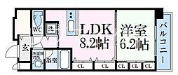 ブランタット西宮江上町 4階1LDKの間取り