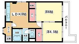 大阪府豊中市服部本町3丁目の賃貸マンションの間取り
