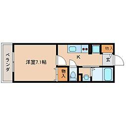 近鉄奈良線 近鉄奈良駅 徒歩10分の賃貸アパート 1階1Kの間取り