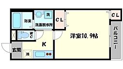 Osaka Metro谷町線 太子橋今市駅 徒歩7分の賃貸アパート 3階1Kの間取り