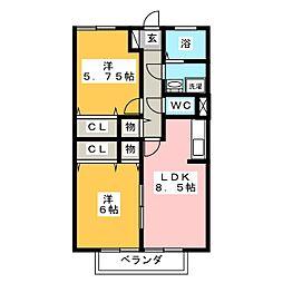 愛知県名古屋市瑞穂区日向町4丁目の賃貸アパートの間取り