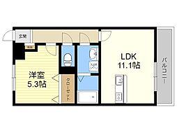 JR日豊本線 隼人駅 徒歩34分の賃貸マンション 2階1LDKの間取り
