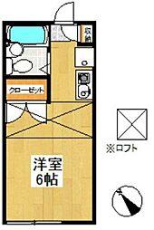 JR東海道本線 戸塚駅 バス10分 宮谷下車 徒歩2分の賃貸アパート 2階ワンルームの間取り